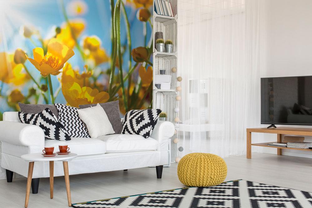 Fototapeta žlté kvety interiér